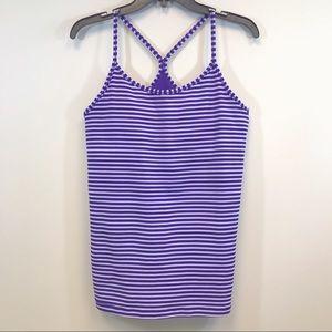 Nike Dry-Fit purple white striped workout tank L